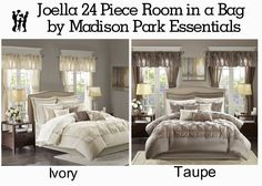 Invigorate your space with the Madison Park Essentials Joella 24 Piece Room in a Bag. Matching shams echo the motif seen on top of the bed, creating an elegant look in your space. Bedding Set, Comforter Sets, Furniture, Room In A Bag, Matching Shams, Bed, Sheet Sets, Home Decor, Room
