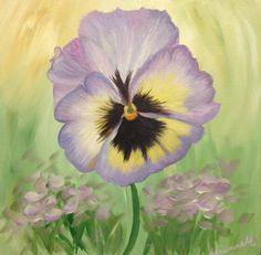 "Original Painting - ""Purple Pansy"", Purple, Lavender, Green Landscape, I, Impressionist, 12""x12"" Acrylic on Canvas. , via Etsy. #sold"