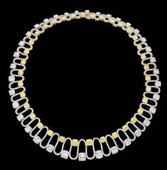 A DIAMOND AND COLOURED DIAMOND NECKLACE Designed as a line of cushion-shaped diamonds to the pavé-set diamond S-shaped spacers supporting a line of cushion-shaped fancy yellow diamonds, mounted in white gold, cm long, in fitted black case Necklace Price, Beaded Necklace, Necklaces, Emerald Diamond, Diamond Jewelry, Colored Diamonds, Yellow Diamonds, Jewelry Design Drawing, Yellow Necklace