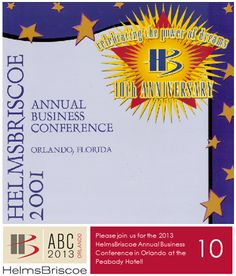 """2001 - HelmsBriscoe celebrates its 10th anniversary at the HB Annual Business Conference in Orlando. Chuck Bowling, President and Chief Operating Officer at Mandalay Bay Resort & Casino, is presented with the Visionary Award. The year ends with 350 Associates in 68 offices worldwide, and Roger Helms is named by MeetingNews as one of the """"25 Most Influential People in the Meetings Industry."""" #HBABC #WhyHB"""