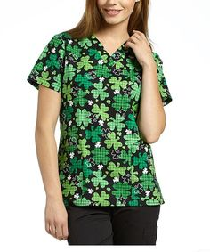 {XS} White Cross Medical Uniform Scrub Top V-Neck Printed Lucky Shamrocks #WhiteCross