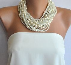Chunky Layered Ivory Pearl Necklace with Rhinestones by kirevi8, $106.00