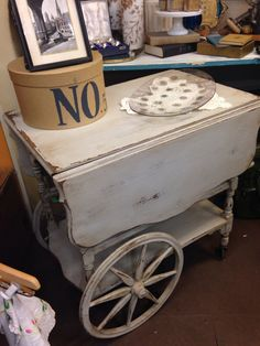 Better than new tea cart. Painted an antiqued grey color