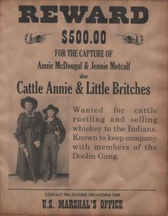 Here is a wanted poster for two of the old west's rare female outlaws, Cattle Annie & Little Britches. Description from ebay.ie. I searched for this on bing.com/images
