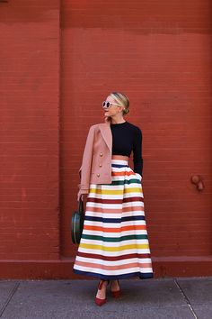 Gorgeous Spring Carolina Herrera Skirt Long Striped Skirts, London Fashion Bloggers, Skirt Fashion, Fashion Outfits, Pink Peacoat, Blair Eadie, Long Skirt Outfits, Atlantic Pacific, Classic Skirts