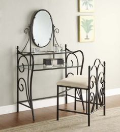Amazon.com: Black Metal & Glass Vanity Table, Mirror & Chair Set: Home & Kitchen