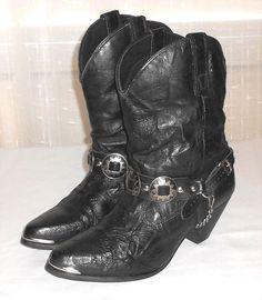 Capezio Women's Black Leather Short Concho Western Boot Made in USA Size 9 M #Capezio #ShortWesternBoot
