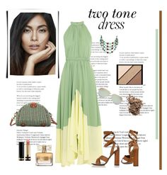 """""""*Two-Tone Dresses Contest* - set#1"""" by sassy-elisa ❤ liked on Polyvore featuring Saloni, Gucci, Tiffany & Co., Miriam Haskell, Elizabeth Arden, Dolce&Gabbana, Givenchy and twotonedress"""