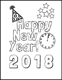 Easy and festive New Year 2018 themed coloring page.