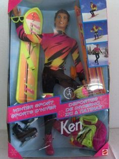 NEW Barbie Ken Winter Sport Snowboard Ski Skate Doll