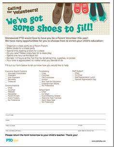 We've Got Some Shoes to Fill! Parent Volunteer Form. Pta School, School Fundraisers, School Ideas, Sunday School, School Auction, School Parties, School Projects, Parent Volunteer Form, Parent Group