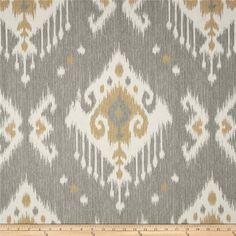 Dakota Grey Ikat cotton upholstery fabric curtains pillows print yardage, $8.25