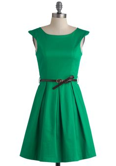 A Grand Weekday Out Dress - Mid-length, Green, Solid, Pleats, Party, Belted, Fit & Flare, Cap Sleeves, Cotton