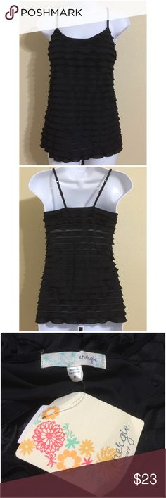 Energie Black Top Size M Energie Size M Black Color Adjustable Spaghetti Straps Tiered Ruffled Lined Built In Shelf Bra Hand Wash Body 98% Polyester 2% Spandex Lining 95% Cotton 5% Spandex Exclusive Of Elastic & Trim Armpit to Armpit Approx. 15 Inches Length From Top Of Strap Approx. 24 Inches Shoulder Approx. 13 Inches New With Tag Energie Tops Camisoles