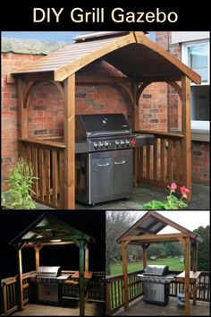 Delight in Manning The Grill by Building a DIY Grill Gazebo in Your Backyard! gazebo ideas Build your own backyard grill gazebo! Grill Gazebo, Backyard Gazebo, Backyard Lighting, Barbacoa, Grill Diy, Outdoor Grill Area, Outdoor Grilling, Bbq Area, Bbq Cover