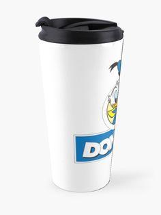 """Donald's Duck"" Travel Mug by clecio | Redbubble I Love Mom, Spiral Notebooks, Mug Designs, Shower Curtains, Sell Your Art, Donald Duck, Travel Mug, Classic T Shirts, Duvet"