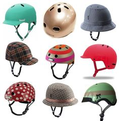 City Girl Rides: Cute Bicycle Helmets. I like the top left, bottom right, mid right. Maybe more muted colors?