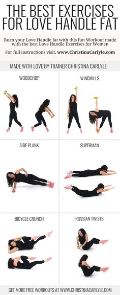 The Best Exercises for Love Handles and Low Back Fat The best exercises for love handles in one quick workout routing for women that helps burn belly fat and shrink your waist line. Fitness Workouts, Fun Workouts, Workout Meals, Post Workout, Yoga Fitness, Fitness Plan, Back Workouts, Fitness Games, Fitness Motivation