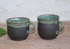 Black Clay Espresso Cup set handmade by ManuelaMarinoCeramic