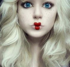 Alice in Wonderland costume makeup / Doll costume makeup w/ heart shaped lips
