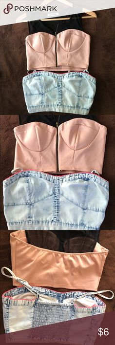 2 Tops Mystic brand & American Eagle Outfitters. 2 Tops. Cream or peach color with black zipper in the front.  2 top is Jean top from American eagle. American Eagle Outfitters Tops Crop Tops