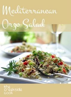 Filled with bright summertime flavors, and the perfect end to a summer day - Mediterranean Orzo Salad | The Creekside Cook