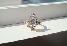 "Aquamarine and Diamond Victorian Engagement Ring Vintage Antique Art Nouveau Art Deco Aqua Blue Pink Flower 14K Rose Gold ""The Fountainhead"" on Etsy, $1,630.83 AUD"