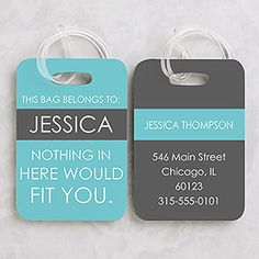 Full Of Wit Personalized Luggage Tag 2 Pc Set - #15120