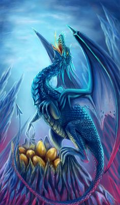 Dragon and her eggs - Fantasy Dragon Nest, Blue Dragon, Dragon Garden, Water Dragon, Magical Creatures, Fantasy Creatures, Dragon Medieval, Dragon Oriental, Cool Dragons