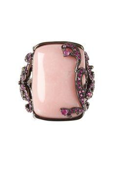Carlo Viani  Pink Opal Elongated Cushion & Pink Sapphire Swirl Design Ring