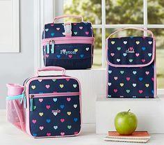Mackenzie Navy Multicolor Heart Lunch Bag