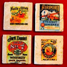 Vintage image coasters. 4x4 travertine marble.