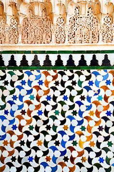 Tiling Detail in the Courtyard of the Myrtles Alhambra Palace Granada Spain