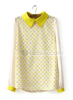 US$25.64 High Quality Preppy Style Assorted Colors Polka Dots Long Sleeves Blouse. #Blouses #Sleeves #Polka #Assorted