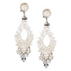 JJ Caprices - Swarovski White Crystal Pendant Earrings by DUBLOS