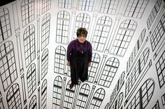 "Brazilian artist Regina Silveira presents her installation titled ""Depth"" at a gallery in Lodz September 21, 2010."