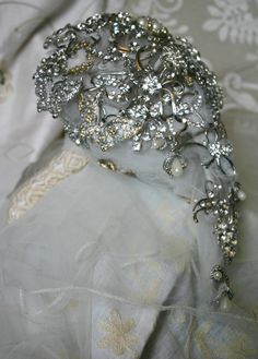 side view of brooch bouquet with Vintage lace covered handle