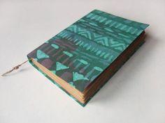 green pattern  Large notebook batik fabric journal diary by Patiak, $48.00