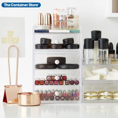 Clearly better storage doesn't have to take up lots of space. The iDesign Clarity Collection is beautifully designed with maximum storage in mind. The clear construction allows you to see which drawer to access, and they're each designed to stack on one another to save you counter space without sacrificing capacity. Makeup Jewellery Storage, Makeup Storage Solutions, Makeup Storage Organization, Organization Ideas, Bathroom Organization, Storage Ideas, Perfume Hermes, Giorgio Armani