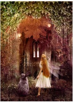 "Alice and Rabbit......."" Faerie Road "" Fantasy mixed media...illustration by Ginger Kelly, 2012"