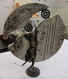 Ein paar weitere Powertex-Arbeiten    Pinguin      Scheibe      Zwerg Pottery Handbuilding, Ceramic Pottery, Ceramic Art, Pottery Sculpture, Sculpture Clay, Mirror Crafts, Concrete Sculpture, Sculptures Céramiques, Steel Art