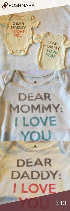 Baby Gap Bundle Dear Mommy/Daddy: I Love You Two off-white, short sleeve, onesies that read 'Dear Mommy/Daddy: I Love You.  Sized newborn.   ***I ship next day!*** Baby Gap Shirts & Tops