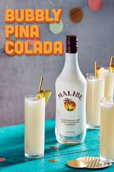 Malibu Champagne Piña Colada! 1 part Malibu .5 part pineapple syrup (1:1 pineapple juice to sugar) .5 part coconut milk. Prosecco or cava. Glass: flute. Method: shake everything except prosecco with ice. Pour 1 part prosecco into shaker and stir to incorporate, strain into flute. Garnish: mini pineapple wedge