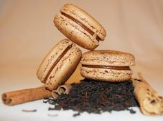 CHAI TEA CARAMEL MACARONS - The warm, cozy flavors of spiced chai tea are infused into the caramel filling of this delicious macaron. Treat yourself to one today!
