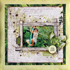 """Live Laugh Love"" layout by Cathy Cafun Design Team for Kaisercraft using 'Botanica' collection - Wendy Schultz ~ Scrapbook Pages 3 Scrapbook Designs, Scrapbook Page Layouts, Scrapbook Albums, Mixed Media Scrapbooking, Scrapbooking Ideas, Specialty Paper, Live Laugh Love, Scrapbook Paper Crafts, Sketches"