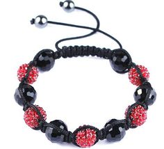 45mm Bright Red Resin Crystal Disco Ball Bracelet Fashion Charms Jewelry