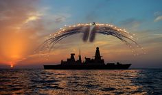 #flares, #Destroyer, #Type 45, #Royal Navy, #navy, #sunlight, #military, #sea, #sky, #ship, wallpaper