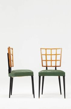 Giuseppe Scapinelli Attributed; Side Chairs, 1950s.