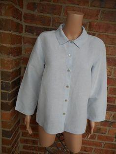 EILEEN FISHER Linen/Silk Blouse M Shirt Top 3/4 Sleeve Blue #EileenFisher #Blouse #Casual