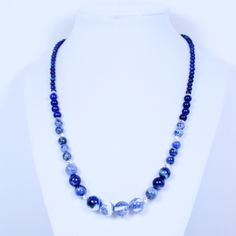 """""""Blue Mystery"""" Sodalite & Lapis Necklace with Sterling Silver accent beads. Gorgeous Lapis Lazuli & Deep Blue & White Round stones in this 20"""" Necklace with EZ Toggle Clasp. See Jewelry Sets & Earrings. Only at: http://americanjewelryvision.com/products/blue-necklace-sodalite-lapis-lazuli-silver-ovals-sterling-necklace-jewelry-womens-jewelry-artist-costume-designer-fashion-gift-hand-crafted-made-in-usa"""